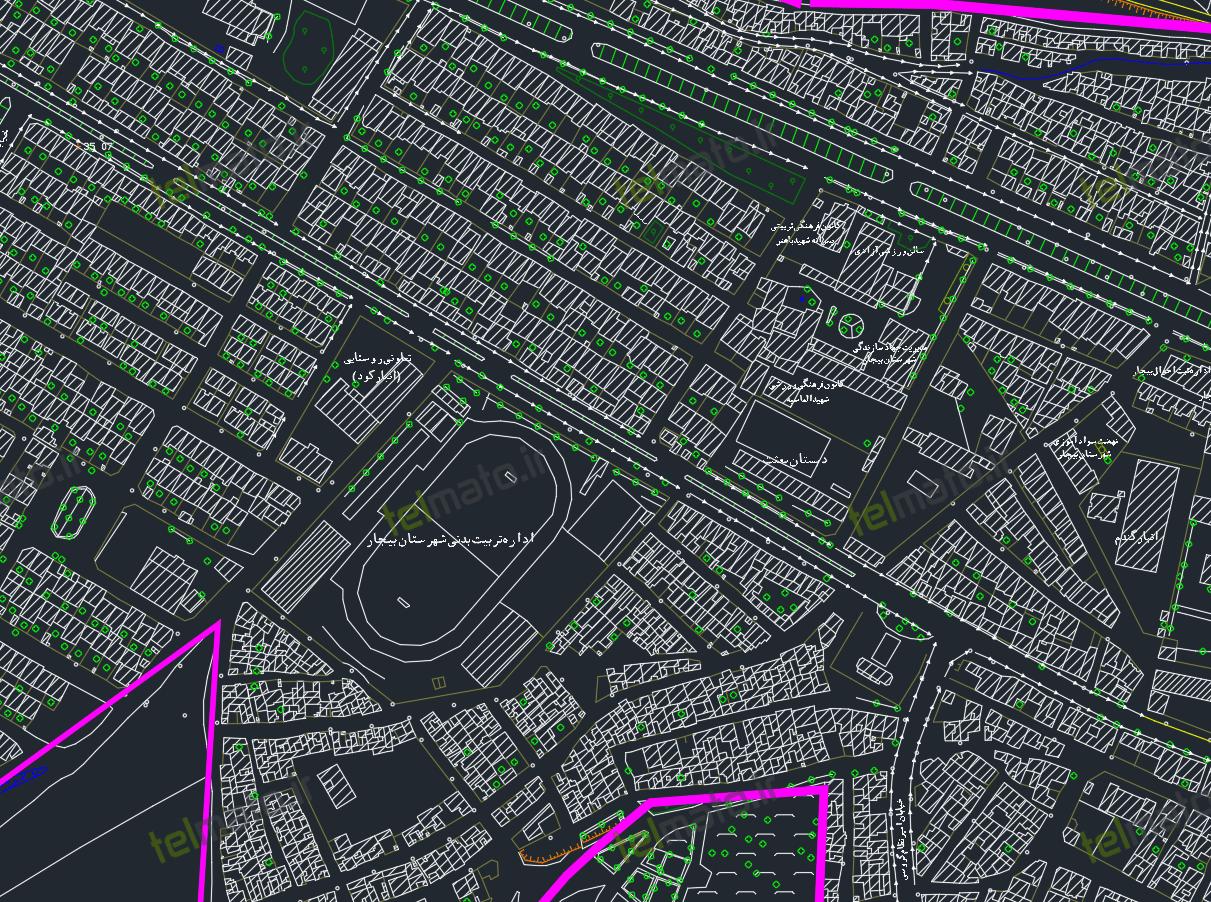 دانلود رایگان نقشه اتوکد و طرح تفصیلی شهر بیجار با جزئیات کامل و با فرمت DWG