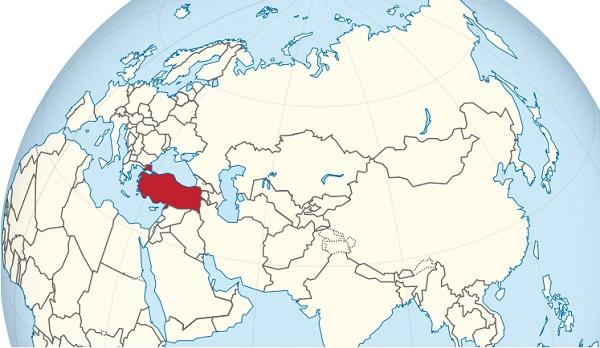 کشور ترکیه روی نقشه